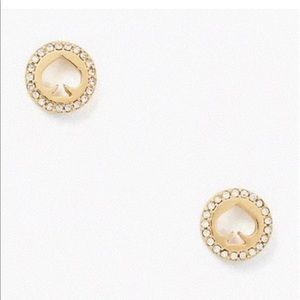 NEW KATE SPADE PAVE HALO SPADE GOLD STUDS